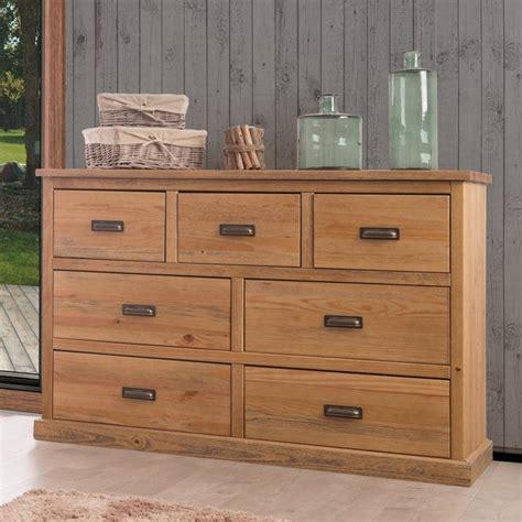 valet de chambre commode en bois 7 tiroirs en pin massif longueur 144 cm