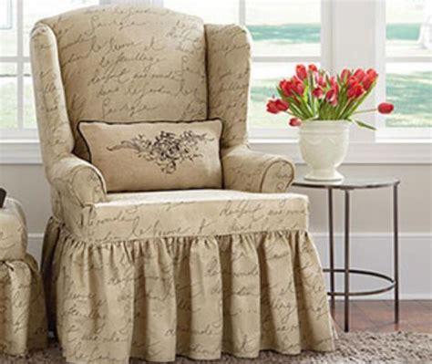 wing chairs slipcovers sure fit pen pal by waverly wing chair slipcover ebay