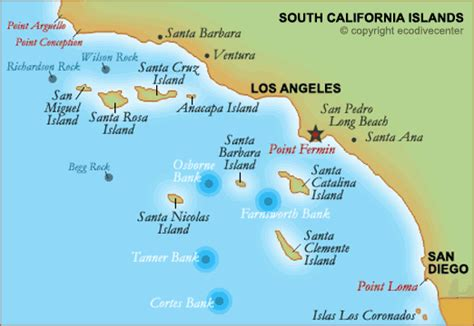 southern californias islands banks  rocks