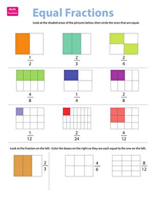 fraction practice equivalent fractions worksheet education