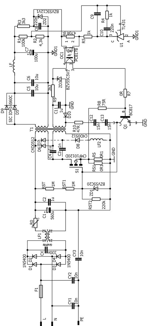 oscillating smps circuit flyback   khz