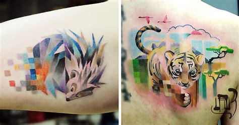 colorful tattoos  pixelated glitches  russian artist