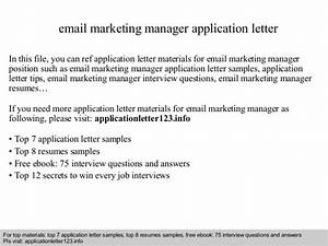 email marketing manager application letter With free sample email marketing letter