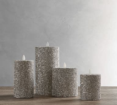 premium flicker flameless german glitter pillar candle