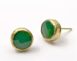 Green Jade Stud Earrings Arabella Concepts