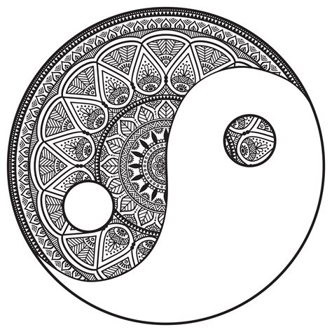 mandala yin    color malas adult coloring pages