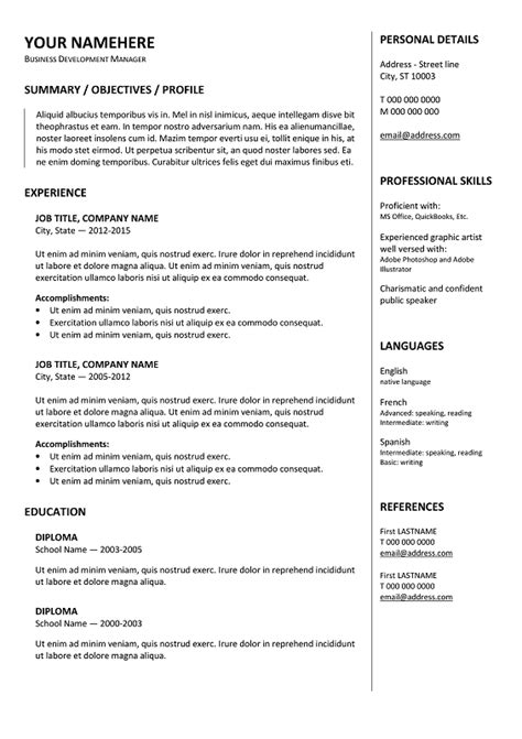 Traditional Resume Template Free gastown free traditional resume template