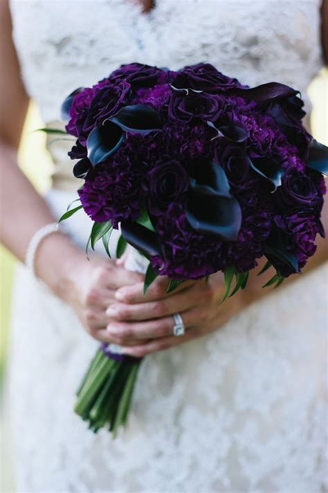 dark purple lily wedding bouquets glam deco