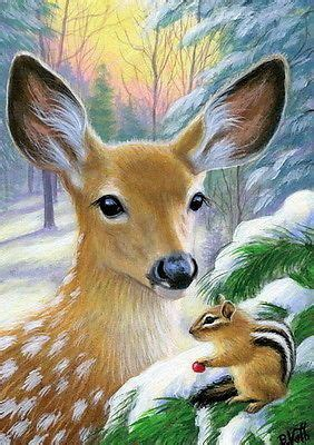Details About Fawn Deer Chipmunk Wildlife Winter Snow