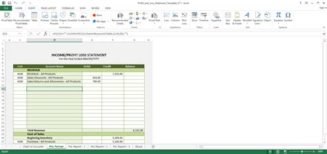 excel profit  loss statement template