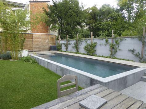 piscine semi enterr 233 e en b 233 ton d ext 233 rieur bordeaux 2 piscines carre bleu jardin