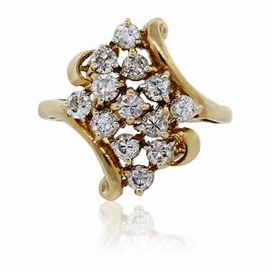 14k Yellow Gold Round Brilliant Diamond Cluster Ring