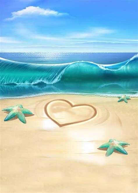 blue sky vinyl cloth sea wave beach starfish love