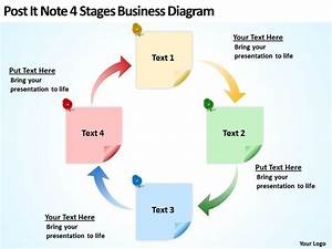 Business Powerpoint Examples Post It Note 4 Stages Diagram