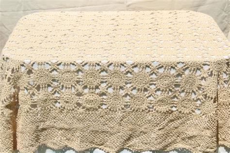 oval cotton tablecloth handmade crochet lace oval tablecloth lacy shabby chic vintage ecru cotton table cover