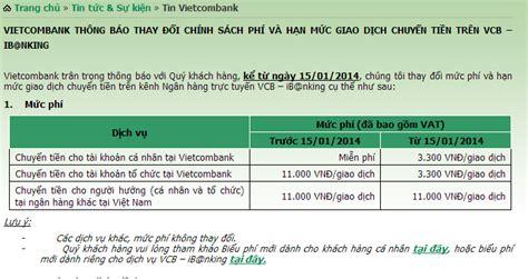 thu phi dich vu internet banking vietcombank ch 237 nh thức thu ph 237 dịch vụ chuyển tiền