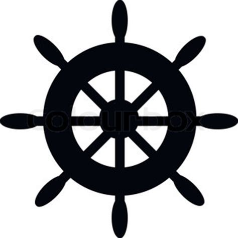 Boat Steering Wheel Silhouette by Vector Vintage Ship Wheel Emblem With Ribbon Vector