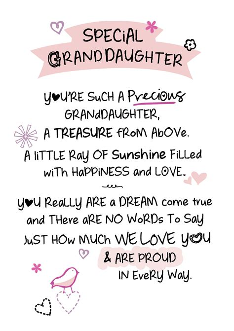 special granddaughter inspired words greeting card blank  birthday cards
