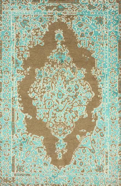 ivana wool  viscose turquoise  beige area rug