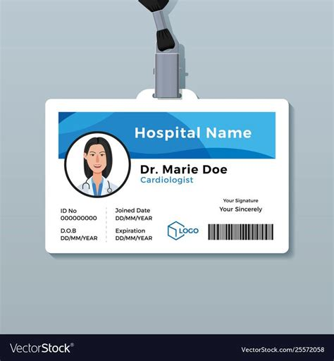 doctor id card medical identity badge template  doctor