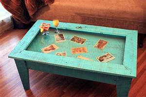 Display coffee table tempered glass display table rustic for Rustic beach coffee table