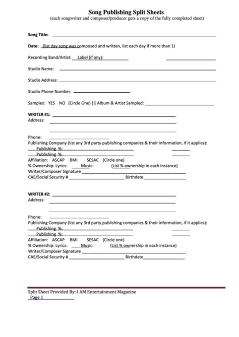 song publishing split sheets printable