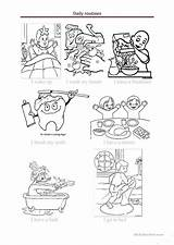 Daily Routines Activities Worksheets Coloring Classroom Routine Worksheet Printable Fun Commands Esl English Template Upvote sketch template