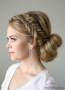 Fishtail Braid Updo Hairstyle Tutorial Step By Step