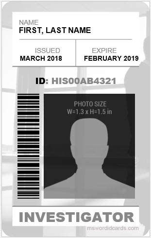 investigator id card templates ms word microsoft