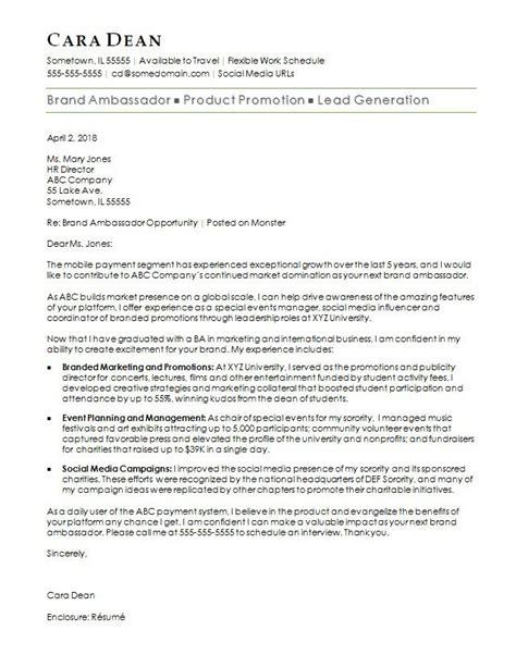 brand ambassador cover letter sample monstercom