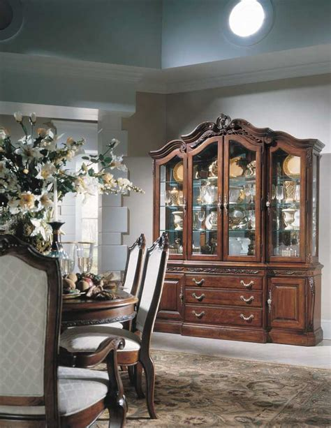 Bobs Furniture China Cabinet by American Drew Bob Mackie Home Pedestal Dining Collection