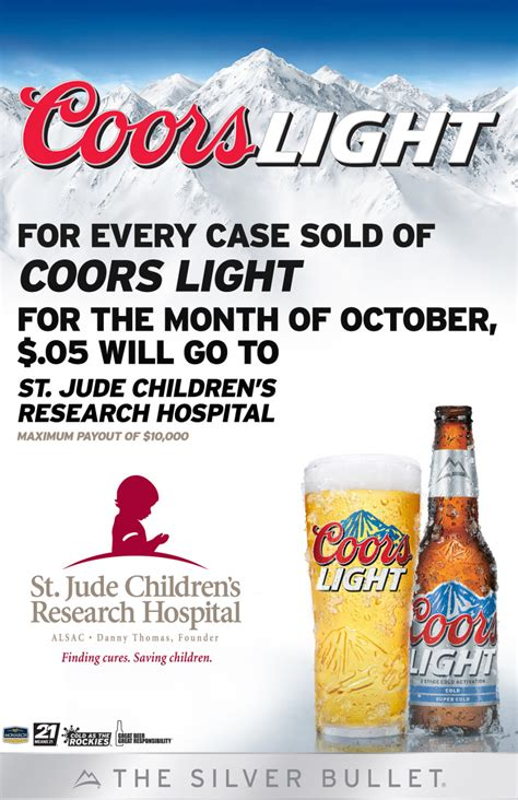 what is the content of coors light millercoors to donate 05 per of coors light sold in