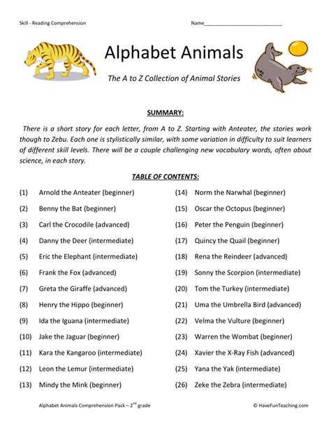 Reading Comprehension Worksheet  Alphabet Animals Collection