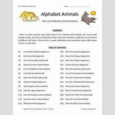 Reading Comprehension Worksheet  Alphabet Animals Collection