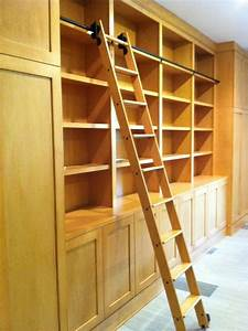 Library Cabinets with Rolling Library Ladder - Modern