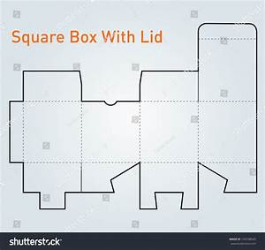Packaging Square Box With Lid Template Vector