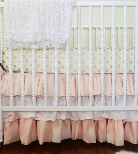 gold crib skirt coral and gold nursery project nursery