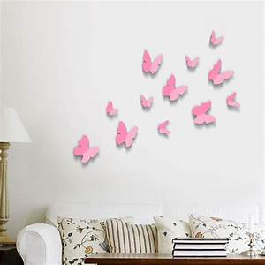 Pink 3d butterflies wall art stickers for Kitchen cabinets lowes with pink 3d butterfly wall art
