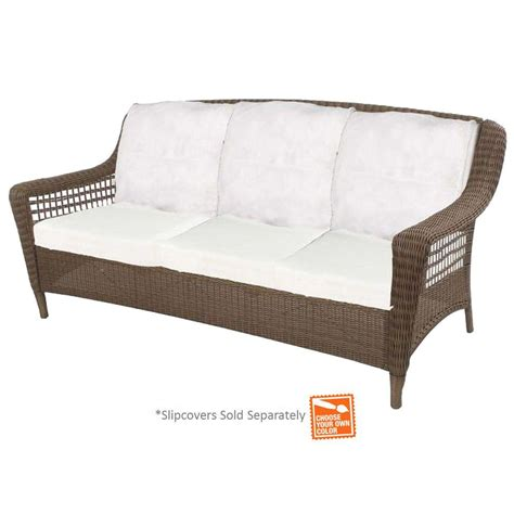 sofa with spring cushions hton bay spring haven grey wicker patio sofa with