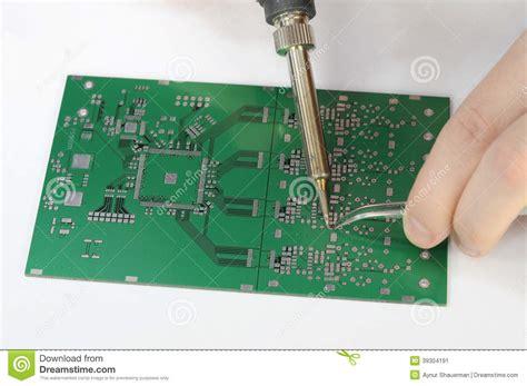 Soldering Resistor Printed Circuit Board Stock Photo