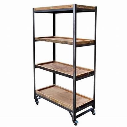 Merchandising Standing Retail Floor Shelves Wooden Unit