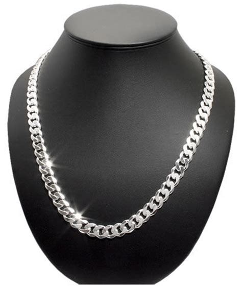 mens silver curb chain solid sterling silver chain