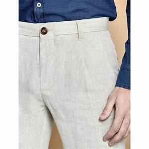 Vêtements En Lin Et Coton : pantalon pour homme en lin et coton beige ~ Carolinahurricanesstore.com Idées de Décoration