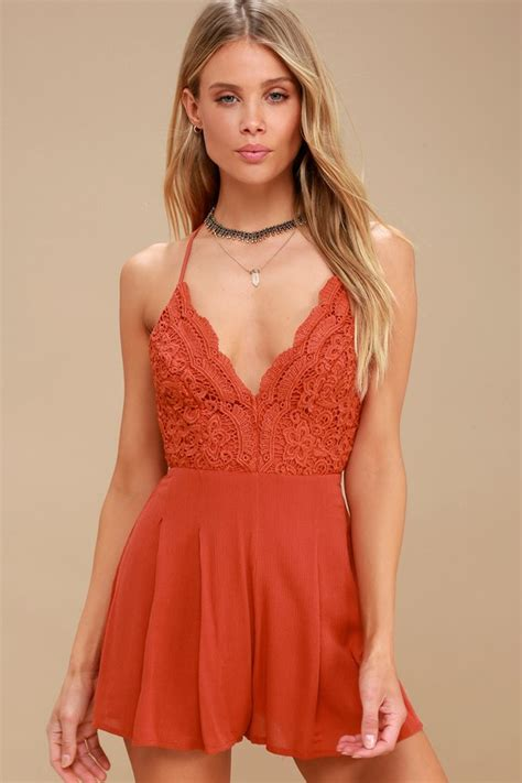 romper lace star lulus backless rust spangled