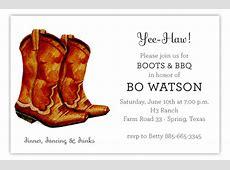 Classic Cowboy Boot Invitation Polka Dot Design