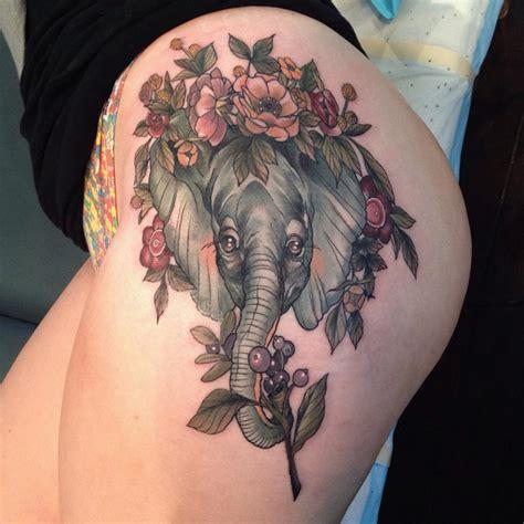 hip tattoo elephant flowers  tattoo design ideas