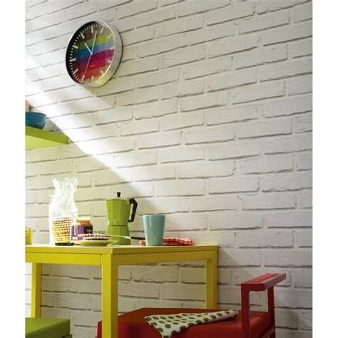 bureau connecté papier peint papier brique loft blanc leroy merlin