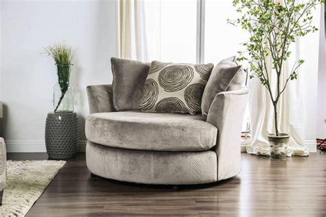 furniture  america bonaventura gray swivel chair