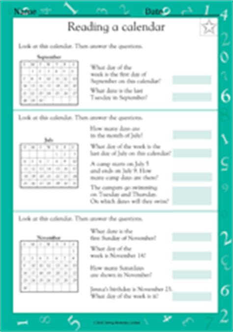 reading a calendar math practice worksheet grade 2 teachervision