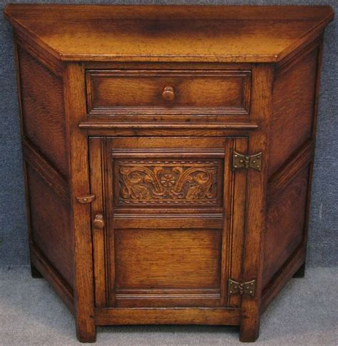 Credence Cupboard by Titchmarsh And Goodwin Solid Carved Oak Canted Credence